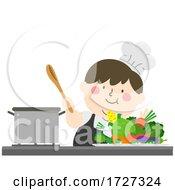 Kid Big Boy Cook Vegetables Illustration