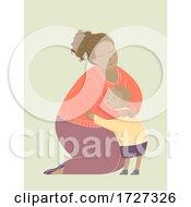Mother Black Hug Child Illustration