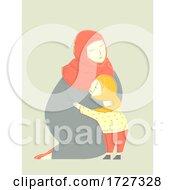Mother Muslim Hug Child Illustration