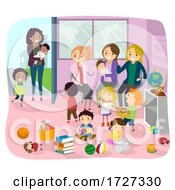 Stickman Mom And Baby Play Group Illustration