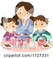 Stickman Kids Mom Hot Chocolate Illustration