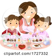 Stickman Kids Mom Decorate Chocolates Illustration