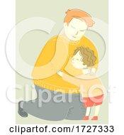 Family Dad Man Hug Child Kid Boy Illustration