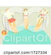 Family Happy Pool Slide Kid Boy Illustration