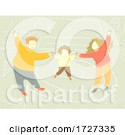 Family Happy Sweater Home Living Room Illustration
