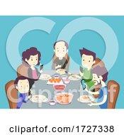 Family Mobile Phone Dinner Illustration