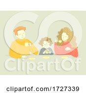 Poster, Art Print Of Family Mom Dad Child Drinks Illustration