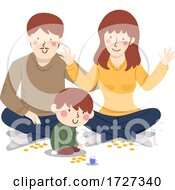 Family Play Dreidel Illustration