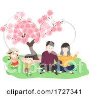 Family Cherry Blossom Festival Picnic Illustration