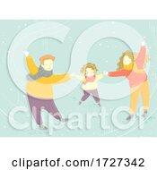 Poster, Art Print Of Family Winter Skating Holding Hands Illustration