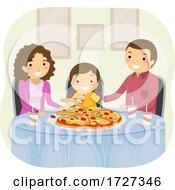 Stickman Family Eat Pizza Illustration
