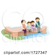 Stickman Family Lake Fishing Illustration