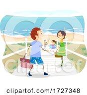 Stickman Family Near Beach Scene Illustration
