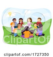 Stickman Family Play Group Outdoor Illustration