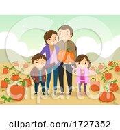 Stickman Family Pumpkin Picking Illustration
