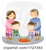 Stickman Family Shabbat Dinner Illustration