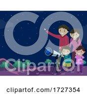 Stickman Family Star Gazing Illustration