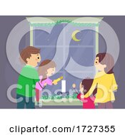 Stickman Family Window Candle Light Illustration