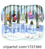 Stickman Kids Swamp Winter Hike Illustration