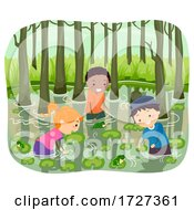 Stickman Kids Swamp Water Search Frog Illustration