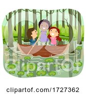 Stickman Kids Swamp Row Boat Illustration
