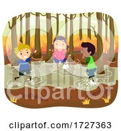 Stickman Kids Swamp Autumn Play Illustration