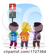 Stickman Kids Traffic Light Stop Sign Illustration