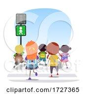 Stickman Kids Traffic Light Go Illustration