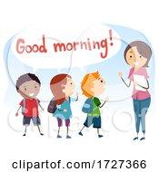 Kids Social Skills Good Morning Illustration