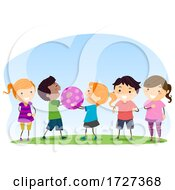 Poster, Art Print Of Stickman Kids Social Skills Pass Ball Taking Turns