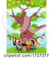 Stickman Kids Hug Happy Big Tree Illustration