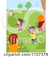 Poster, Art Print Of Stickman Kids Hide And Seek Park Outdoor Activity