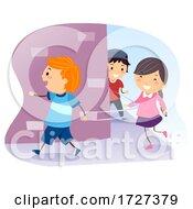 Stickman Kids Walk Turn Right Illustration