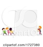 Stickman Kids Work Together Board Illustration