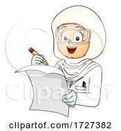 Kid Girl Muslim Lab Coat Paper Illustration