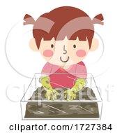Kid Girl Mud Glove Box Play Illustration