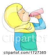 Girl Muslim Hydrating After Sports Illustration