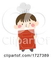 Kid Boy Chef Present Recipe Book Illustration