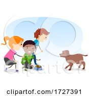 Stickman Kids Dog Come Food Illustration