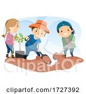 Stickman Kids Dig Soil Illustration