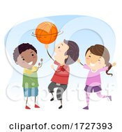 Poster, Art Print Of Stickman Kids Basketball Ball Spin Illustration
