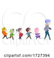 Stickman Kids Winter Clothes Walk Illustration