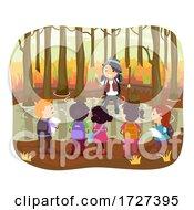 Stickman Kids Adult Swamp Autumn Hike Illustration