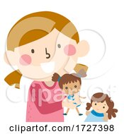 Poster, Art Print Of Kid Girl Play Dolls Illustration