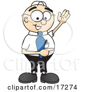 Male Caucasian Office Nerd Business Man Mascot Cartoon Character Waving And Pointing To The Right