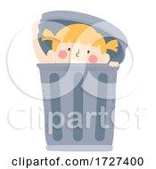 Kid Girl Hide Garbage Can Illustration