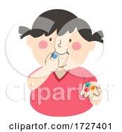 Kid Girl Chewing Gum Balls Illustration