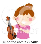 Kid Girl Hold Viola Illustration
