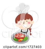Kid Girl Chef Present Food Illustration