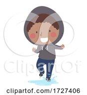 Kid Boy Step On Puddles Illustration